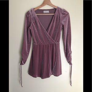 Urban Outfitters Velvet Wrap Long Sleeve Dress Top